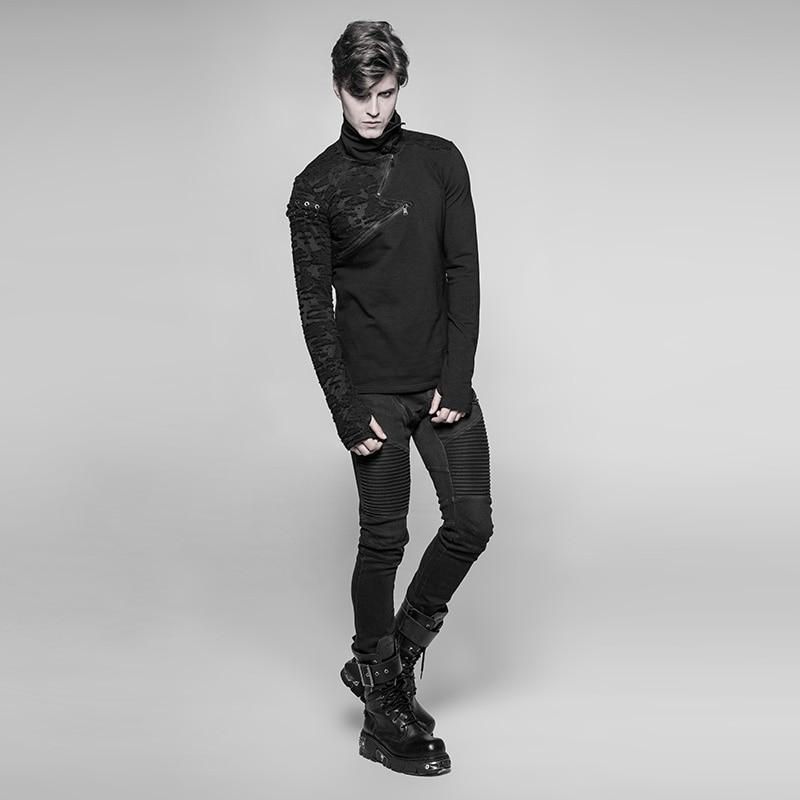 PUNK RAVE New Punk High Collar Comfortable T Shirt Rock Gothic Personality Casual Men S Shaped Long Zipper Cool Street Shirt - 3