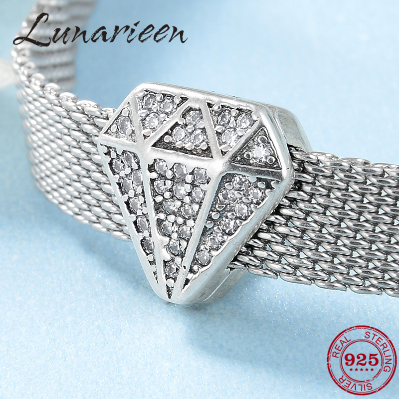 Hot 925 Sterling Silver Sparkling Charms Zircon Clip Beads Fit Original Reflection Charm Bracelet Jewelry Making 2019