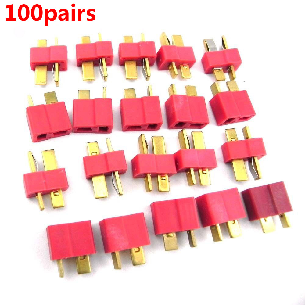 200pcs 100 Pairs T Plug Connectors Male Female hv3n for Deans RC Lipo Battery Helicopter