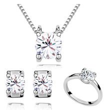 2013 Free Shipping New Arrival fashion Crystal Zircon Grade Platinum Plated necklace & Pendants earrings rings Jewelry Sets