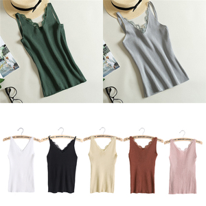 Image 5 - Liso De mujer Sexy camisola encaje empalme doble Chaleco con cuello en V Slim Sling camisola