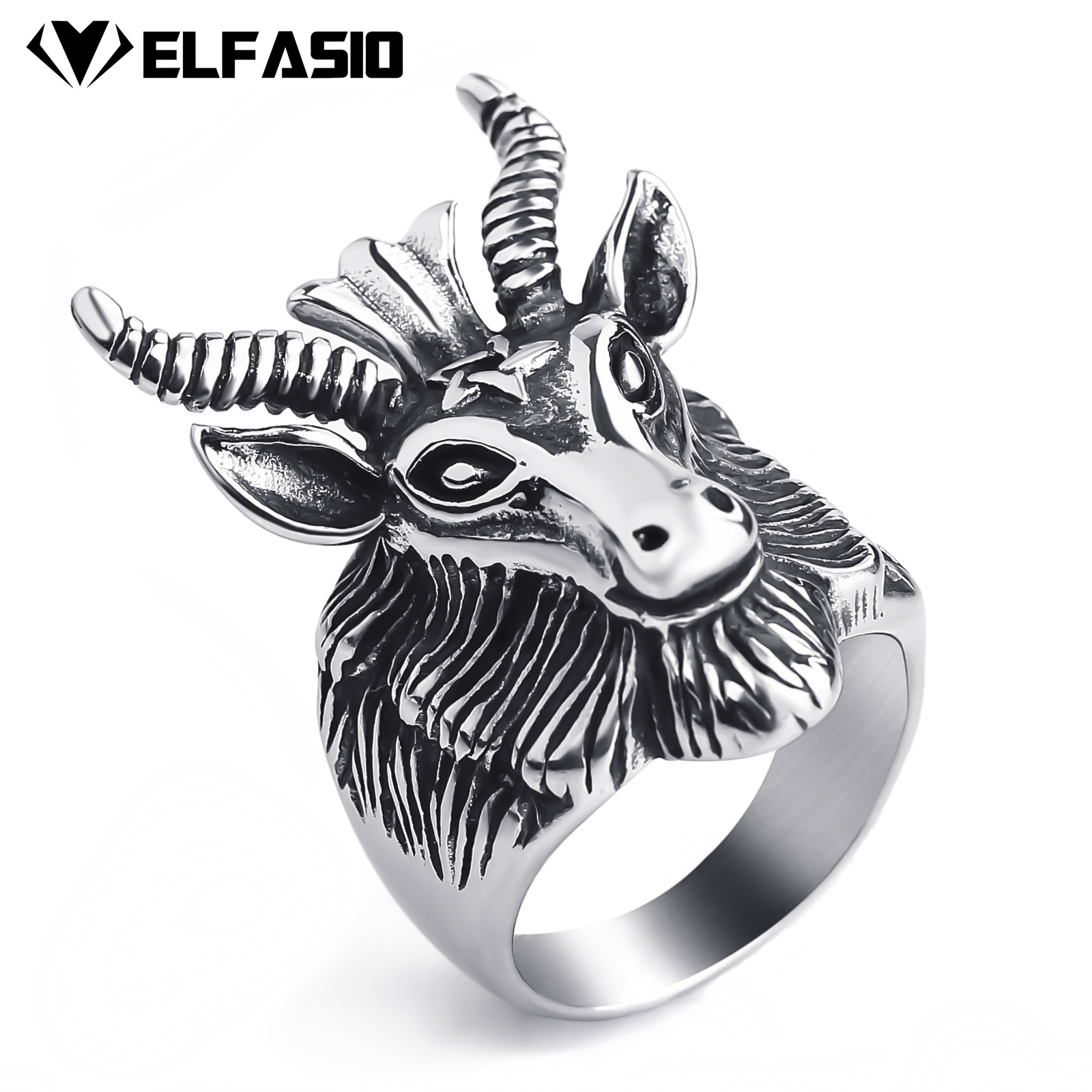 Mens Stainless Steel Baphomet Ring Pentagram Goats Head Horns Occult Satan Devil Biker Jewelry Size 8-13 Детская кроватка