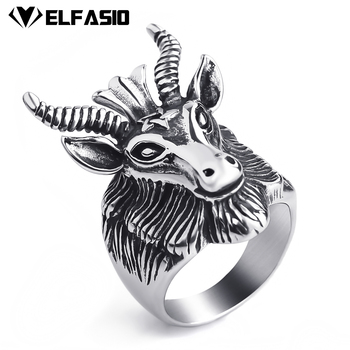 Mens Stainless Steel Baphomet Ring Pentagram Goats Head Horns Occult Satan Devil Biker Jewelry Size 8-13 online shopping in pakistan with free home delivery