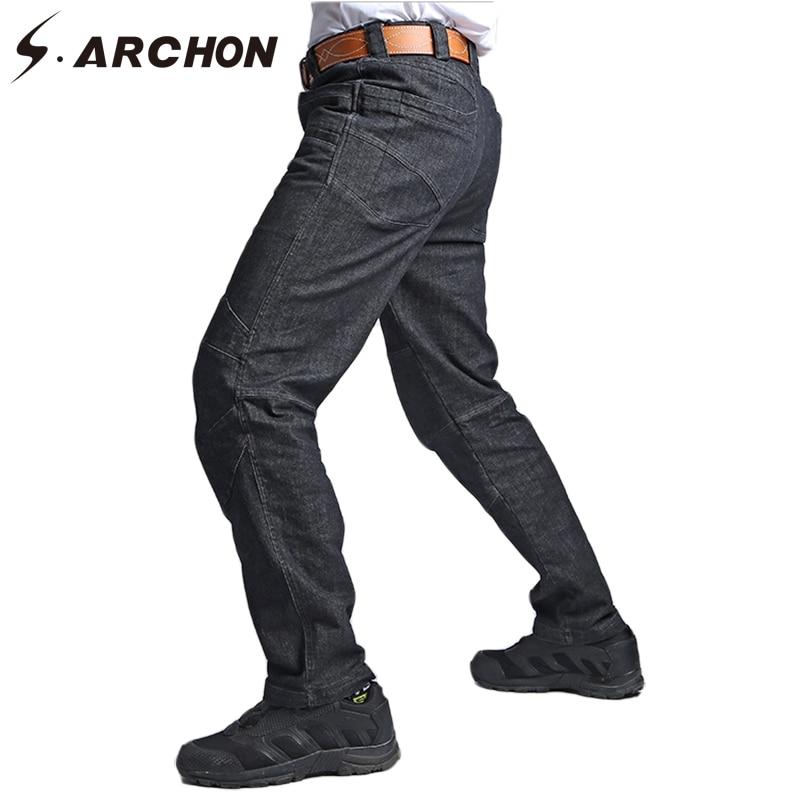 S.ARCHON Urban Military Cargo Jeans Men Casual Multi Pocket Stretch Tactical Pants Motorcycle Trouser Slim Fit Denim Biker Jeans