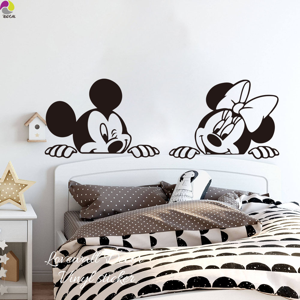 Us 623 21 Offcartoon Micky Minnie Mouse Wall Sticker Nursery Kids Room Anime Mouse Wall Decal Bedroom Sofa Living Room Vinyl Home Decor In Wall