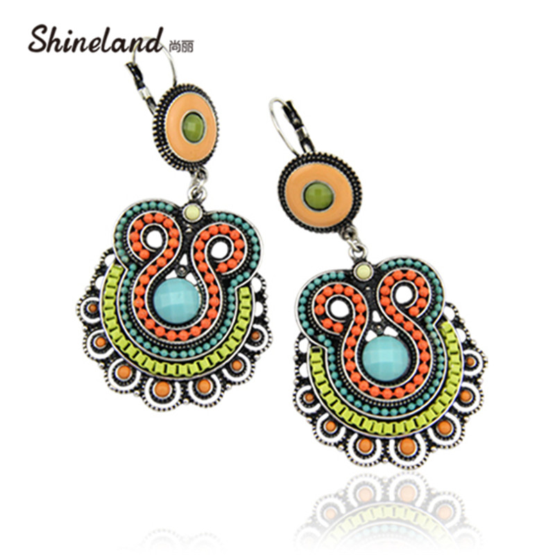 Shineland 2020 новые женские модные богемные этнические стильные трендовые многоэмалированные бусины массивные большие висячие серьги ювелирные изделия|drop earrings|earrings fashionearrings style | АлиЭкспресс