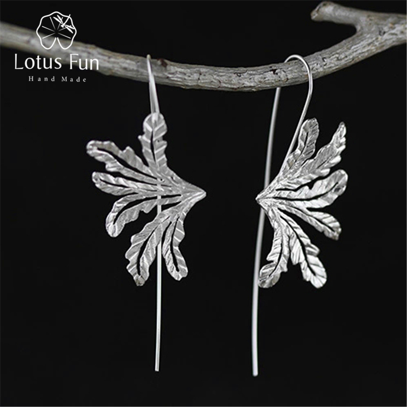 Lotus Fun Real 925 Sterling Silver Natural Creative Handmade Fine Jewelry Special Grass Fashion Drop Earrings for Women BrincosLotus Fun Real 925 Sterling Silver Natural Creative Handmade Fine Jewelry Special Grass Fashion Drop Earrings for Women Brincos