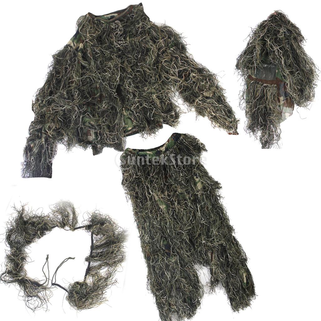 3D Ghillie Suit Bionic Training Camouflage Woodland Forest Hunting Cloth 5 pieces new ghillie suit camo woodland camouflage forest hunting 3d