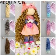 1pcs 15cm*100CM Doll Wigs Heat Resistant Synthetic Fiber Curly Hair Piece for BJD Dolls DIY Doll Wig Hair цены онлайн