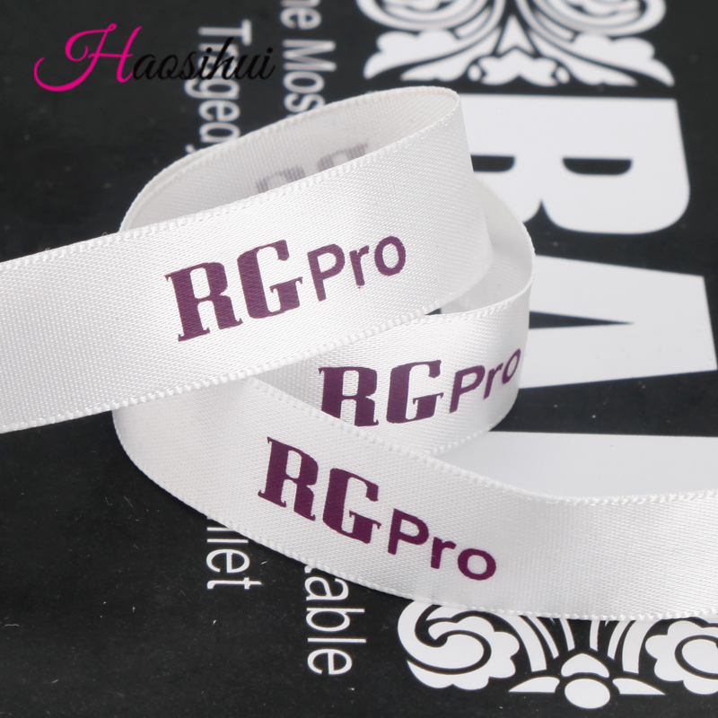 1 1 4 32mm Custom width 3 2cm ribbon polyester private logo printed gift package decoration