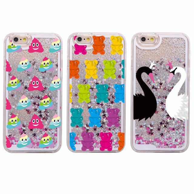 more photos 0e03c 7b111 Cute Gummy Bear Jelly Ice Cream Swan Glitter Liquid Hard Phone Cover Case  Coque Fundas For iPhone 6 6S 7 7Plus 5 5S SE XS Max