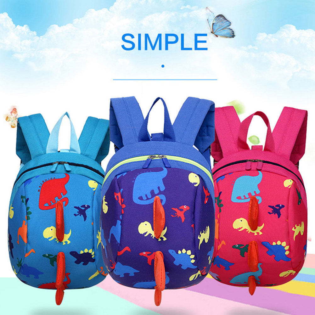 Cartoon Dinosaur Backpack Adjustable Strap Schoolbag Safety Cute Children Use Anti Lost Toddler Shockproof Mesh Harness 1 PC