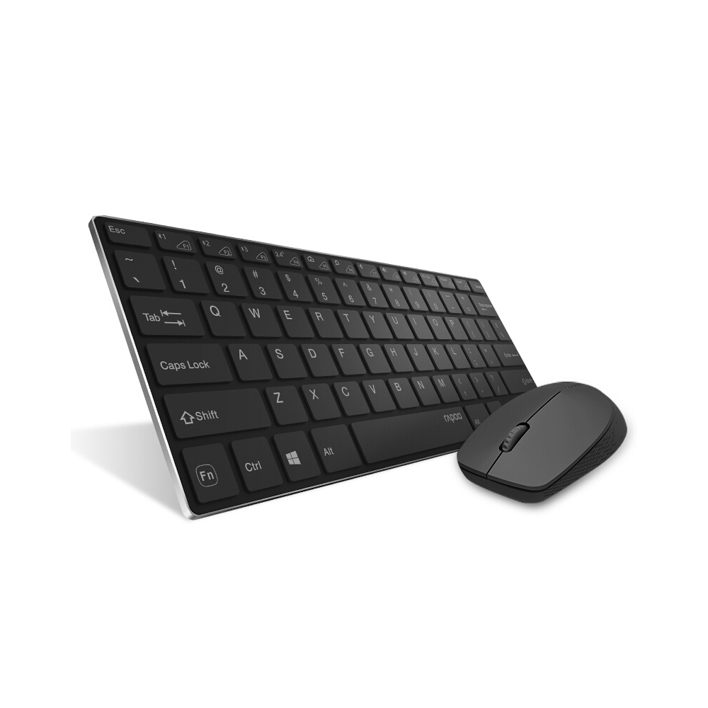 Rapoo 9000M Silent Multi-Mode Keyboard Mouse Set Wireless Bt 3.0/4.0/2.4G Combo For Windows Laptop PC Desktop Computer