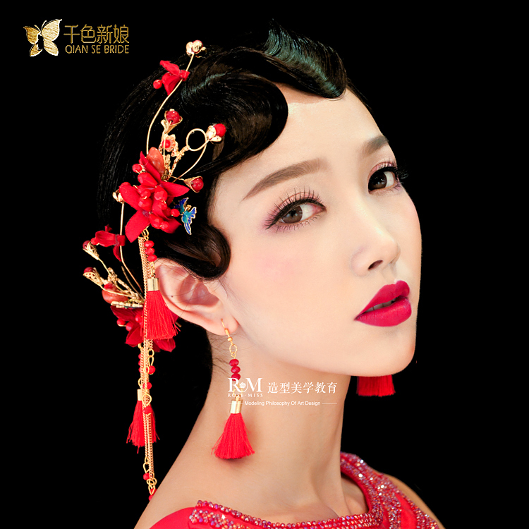 chinese style red butterfly fringed tassle head flower barrette wedding hair accessories in Hair Jewelry from Jewelry Accessories