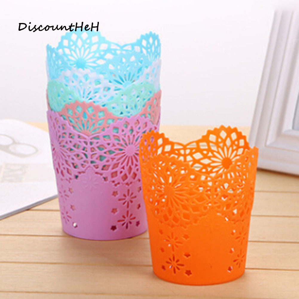 Pen Holder Brush Pot Lace Hollow Pattern Storage Pen Pencil Pot Holder Container Desk Organizer Gift