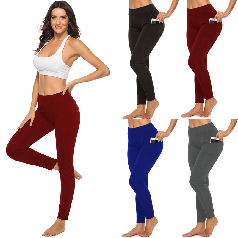 Women Sport Pants Leggings Have Pocket High Waist Workout Athletic Push Up Fitness Elastic Slim Jogging Female