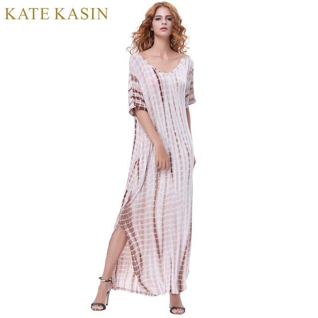 263b2d1200a0 Kate Kasin Summer Dresses 2018 Women Tie Dye Maxi Dress Soft Fabric Short  Sleeve V-