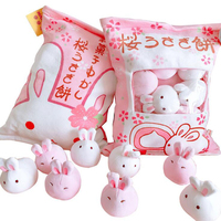Creative snack pillow a bag of rabbit pudding plush toy simulation snack throw pillow pink sakura rabbit plush toys for children