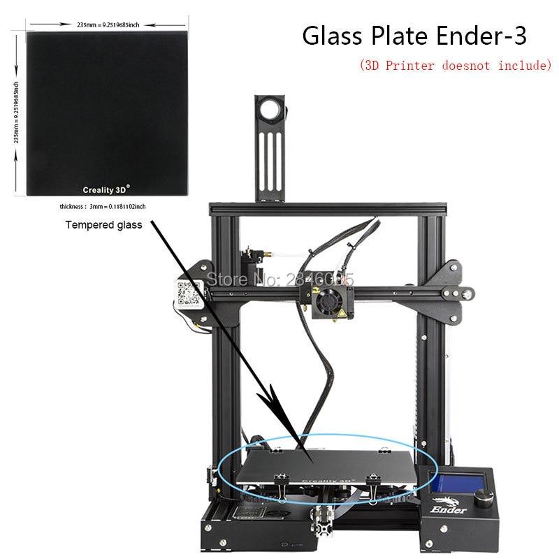 Nouveau Creality 3D Ultrabase 3D Imprimante Plate-Forme Chauffée Lit Construire Surface En Verre plaque 235*235x3mm pour ender-3 MK2 MK3 Chaude lit