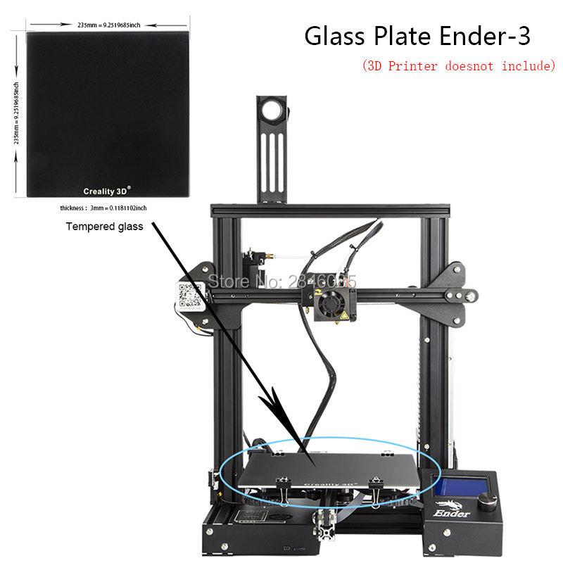 Nueva Creality 3D Ultrabase 3D plataforma impresora cama calentada construir superficie placa de vidrio 235*235x3mm para ender-3 MK2 MK3 cama caliente