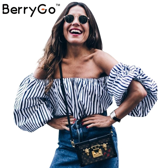 BerryGo Casual striped off shoulder blouse shirt women Loose lantern sleeve halter blouse tops Sexy backless blusas