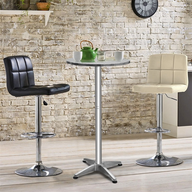Stainless Steel Aluminium Round Folding Desktop Bar Table Adjustable Height Desk UV Resistant Waterproof Plastic Floor Glides