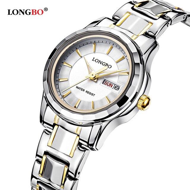 2017 LONGBO Couple Full Steel Gold Watch Fashion Men Women Waterproof Wristwatch Couple Business Quartz Watches Gift For Lovers