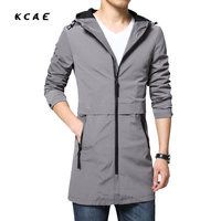 2018 Spring And Autumn Long Slim Trench Coat Men Cap Korean Fashion Youth Thin Jacket Cardigan
