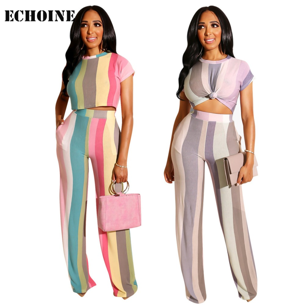 Summer Women 2 Piece Set Striped print Crop Top and Pants with Pocket Women Slim Elegant Pants Set  Chic Colorful  Club Outfits