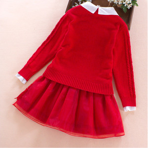 Image 5 - Childrens clothing set 2017 autumn winter Sweater coat+shirt+skirt 3pcs lace flowers Kids girls cotton clothes 7 8 10 13 years