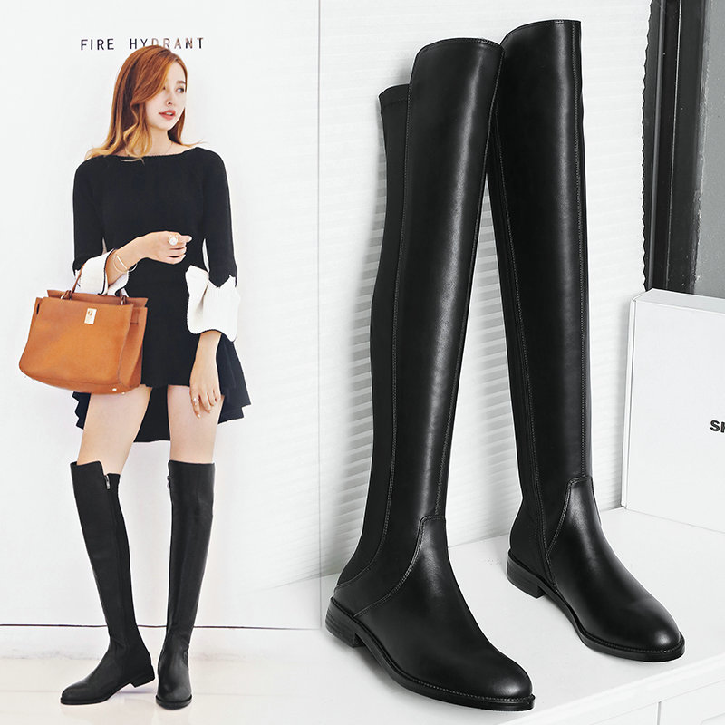 2019 Fashion Knee High Boots Women Leather Square Low Heel Zipper Boots Comfortable Autumn Winter Long Boots Laides Shoes Black2019 Fashion Knee High Boots Women Leather Square Low Heel Zipper Boots Comfortable Autumn Winter Long Boots Laides Shoes Black