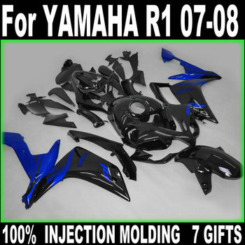 100% fit injection fairings for Yamaha YZF R1 07 08 matte black blue fairing kit YZFR1 2007 2008 BD55