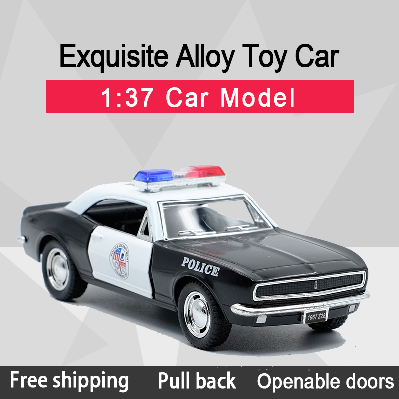 Kinsmart 1:37 1967 Chevrolet Camaro Z/28 Police Toy Car Alloy Diecast Car Model Toy With Pull Back For Kids Gifts Toy Collection