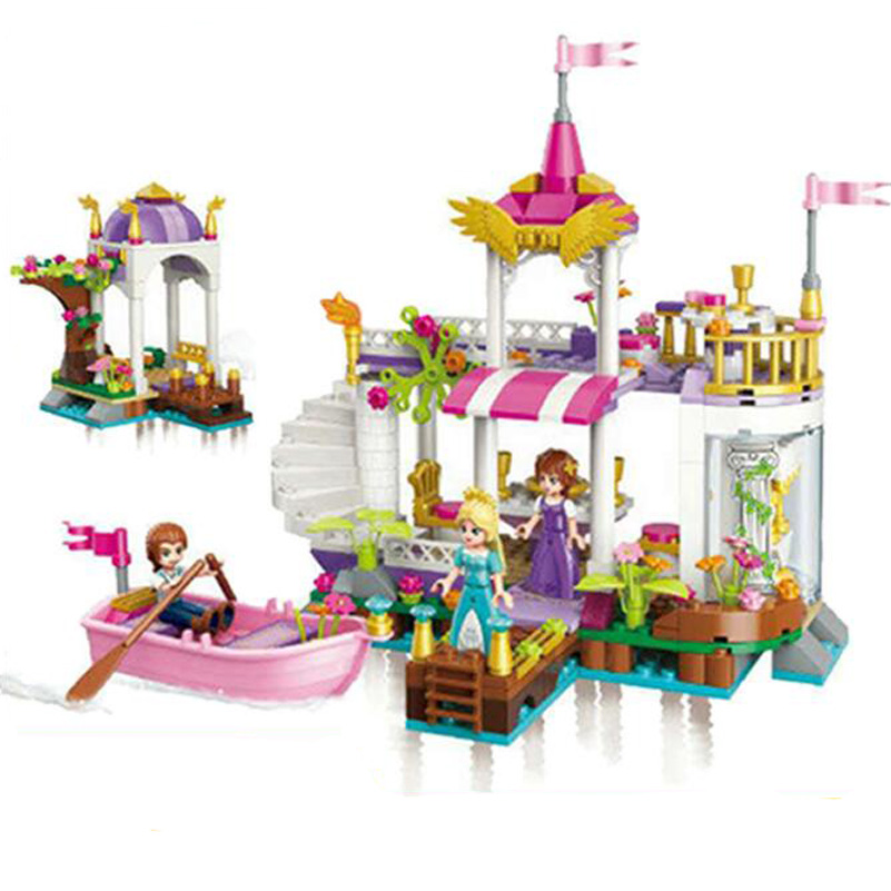 394pcs Building Blocks Girl Friends Leah Princess Lakeside Party Compatible Boat Castle Model Toys For Kids Juguetes Gifts 2607 princess ponies 6 best friends for ever