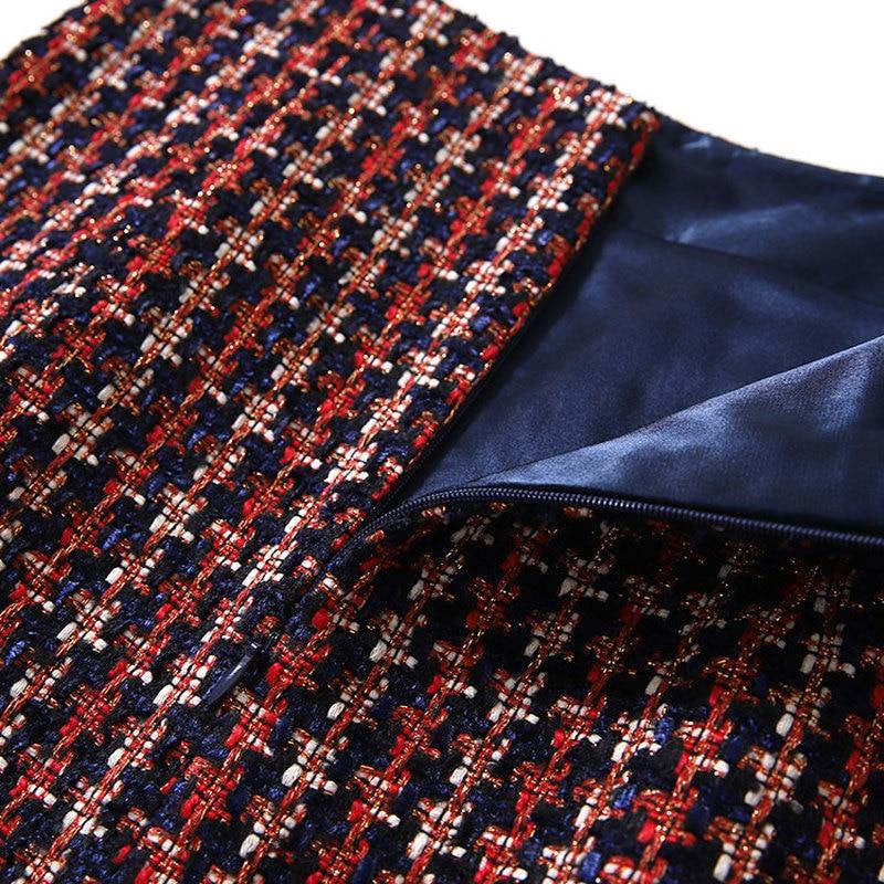 Vintage Línea Cuadros De Mini Faldas Primavera Cintura Bolsillo Plaid Falda Tweed Y157 Mujeres Botones Gallo Pata Chic Otoño Alta 2019 Nuevo WqIvT14av8