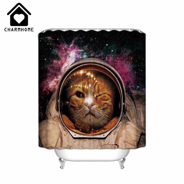 CHARMHOME Funny Cat Shower Curtain Printed Waterproof Polyester Fabric Bath Bathroom Accessories Home Decoration