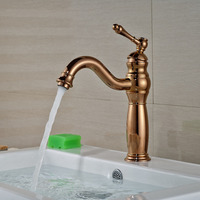 Wholesale And Retail Luxury Rose Gold Deck Mounted Bathroom Basin Faucet Single Handle Mixer Tap Solid Brass Tap