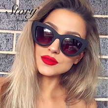 STORY Women Red Frame Cat Eye Shape Sunglasses For Women Fashion Brand Retro Oval Sun Glasses UV400 Cat Eye Drop Shipping 043