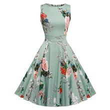 Brand Fashion Women Dress A Line Vintage Floral Printed Sleeveless O Neck Summer Dresses Elegant Femme Party Vestidos Plus Size