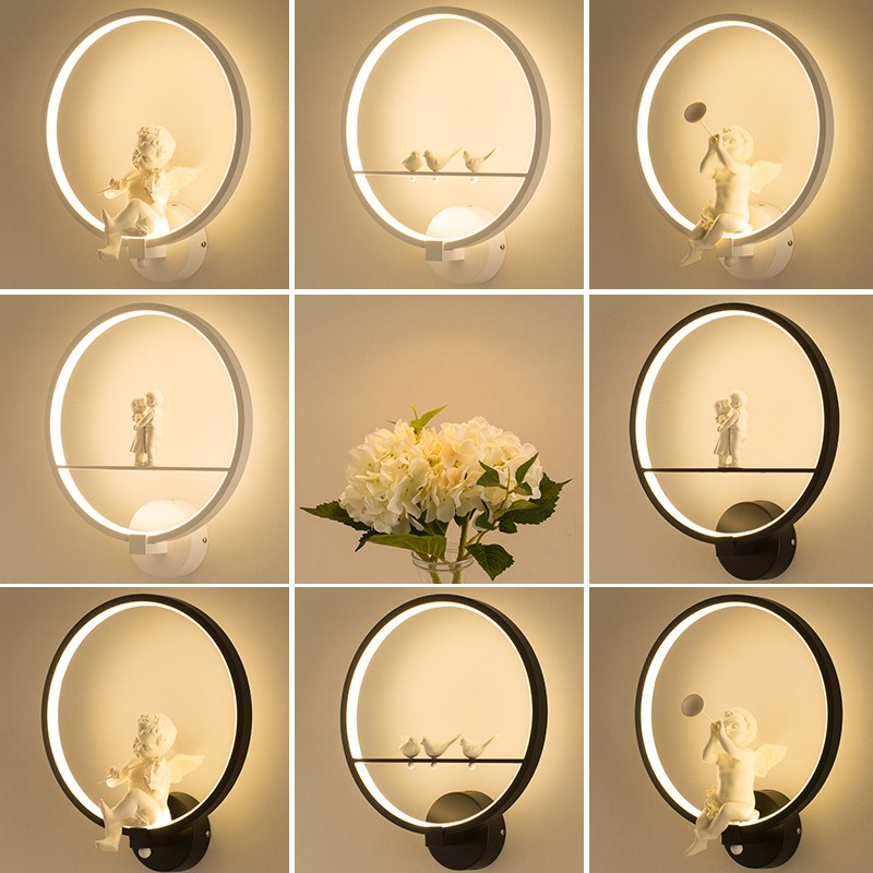 Modern Wall Lamps art angel Nordic creative for living room bedroom bedside lighting bracket High power led lustre Home Dero