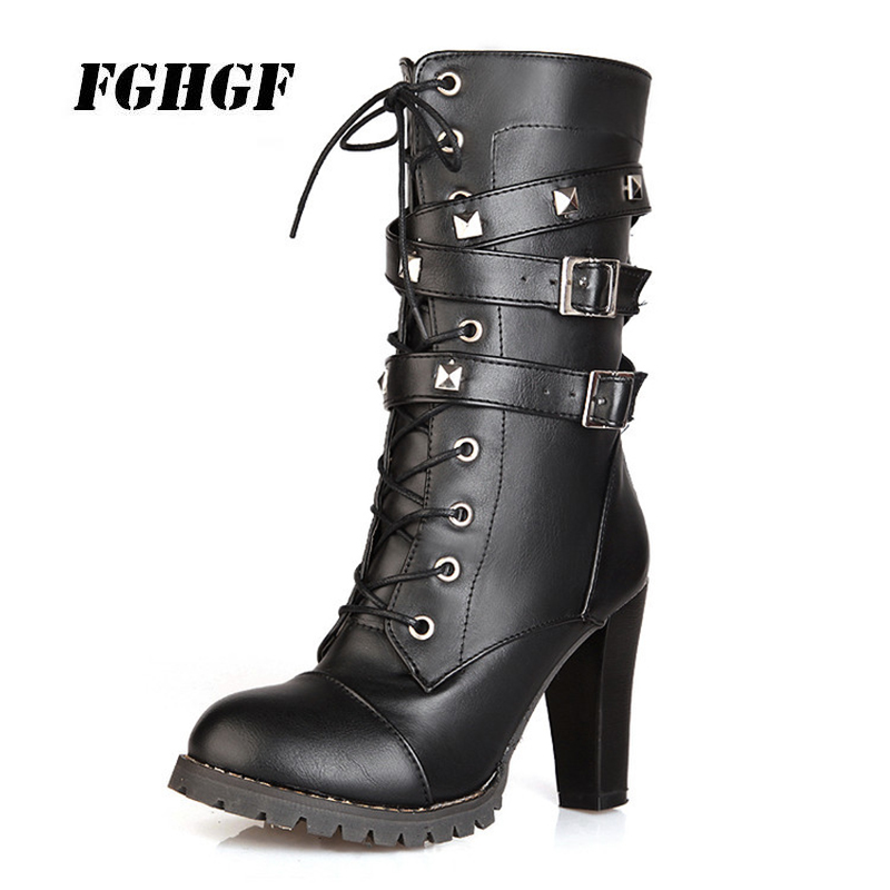 New comfortable side zipper rivet thick heel middle boots High-heeled lace-up Martin boots Big yards for women's shoes 34-48 2017 new retro shoes lace high heeled boots martin british burning ultra thick with round head short boots female big shoes