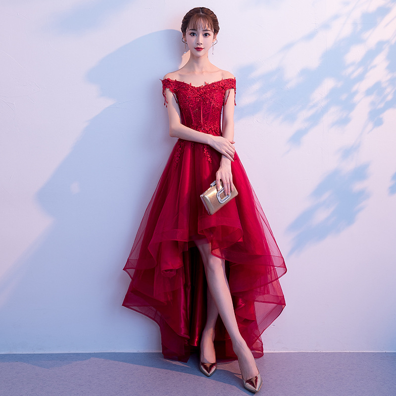 New Wine Red Short Front Long Back Evening Dress Sexy Boat Neck Plus Size Custom Made Lace Up Party Evening Dress Robe De Soiree