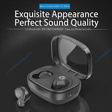 new Binaural IPX7 Waterproof 5.0 Bluetooth TWS Wireless Bluetooth Headset with Built-in Mic Sweatproof Earphone Noise Cancelling