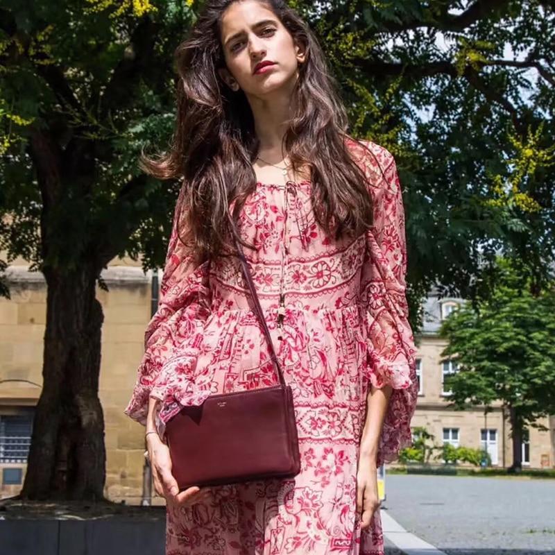 Est Chart Haute Corne Pur Imprimé Manches Avec Femme Une Nouveau See Taille Robe WS68qfYT