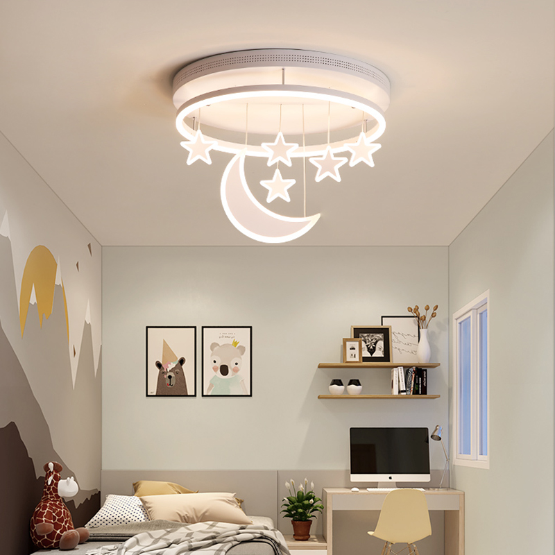 US $106.5 25% OFF|Chandelierrec Modern Kids Room LED Ceiling Lights  AC85~265V home lighting fixtures for baby bedroom moon and star ceiling  lamp-in ...