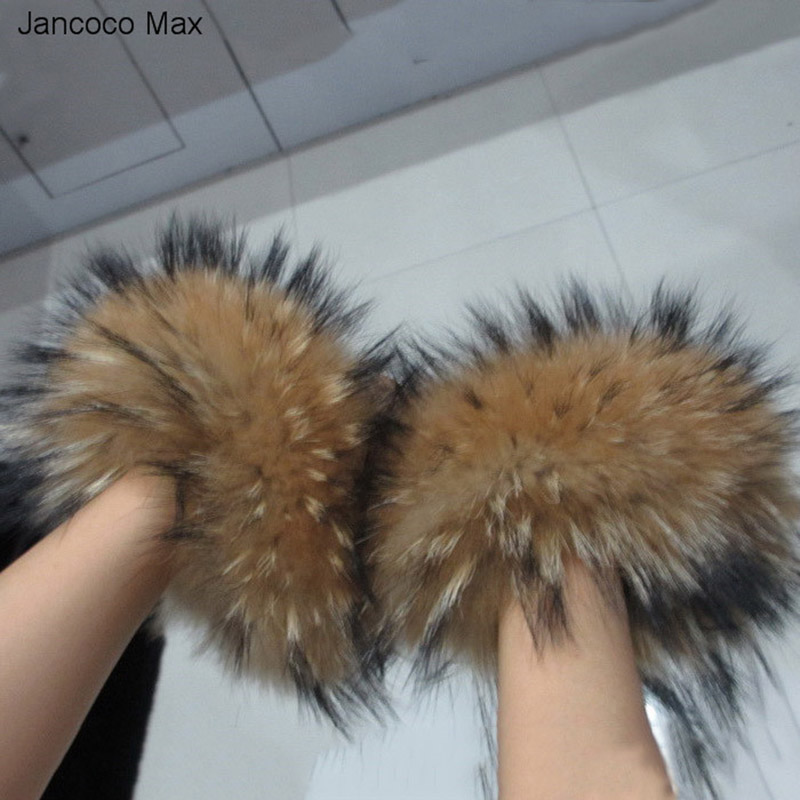 Jancoco Max S1405 Women Real Raccoon Fur Sleeve Cuffs Ring For Jackets Fashion