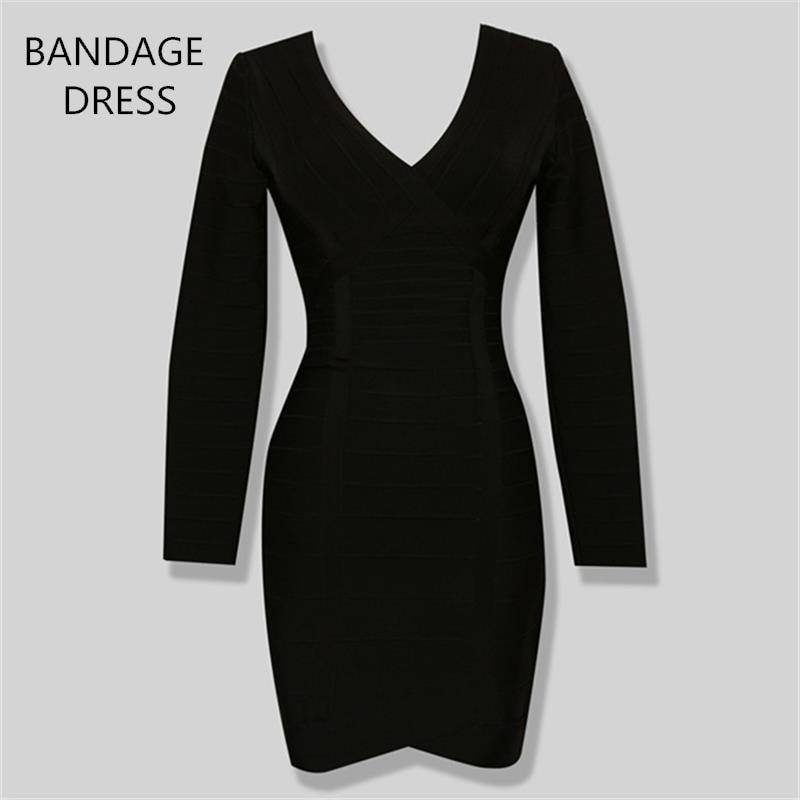 2017 BANDAGE DRESS New Stylish Long Sleeve V-Neck Knitted Sexy Ladies Bodycon Bandage Dress Wholesale HL J266 wholesale 2016 new elastic knitted ladies fashion blue beading bandage strap crop top