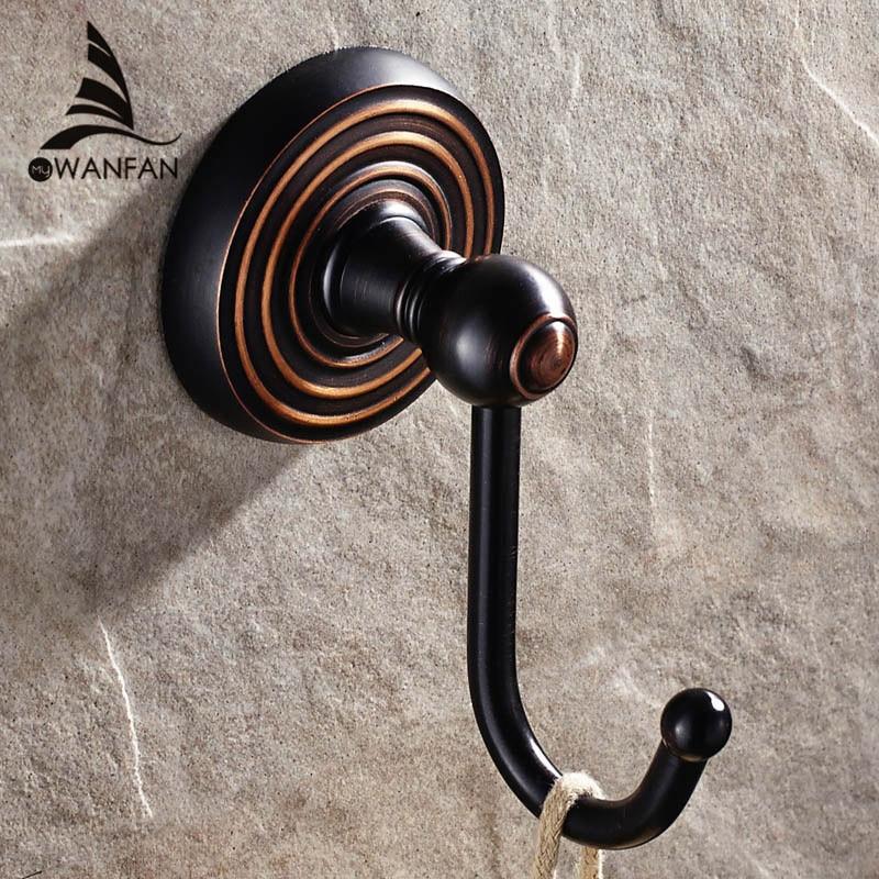 Robe Hooks Solid Brass European Wall Hook Hanger For Bathroom Hook Black Holder Kitchen Accessories Wall Storage Hangers HJ-1201