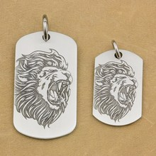 316L Stainless Steel High Detail Deep Engraved Customized Mens Biker Rocker Punk Angry Lion King Pendant Dog Tag 9X107 JP