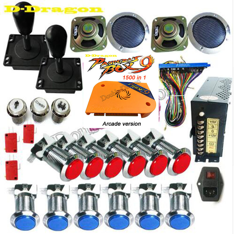 Pandora Box 4S DIY Arcade Bundles Kits Parts With Power Supply Jamma Harness Joystick Push Button Upgrade to Box 9 1500 for free-in Coin Operated Games from Sports & Entertainment    1